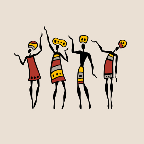 Figures of african dancers. People silhouette set. Vector  Illustration.